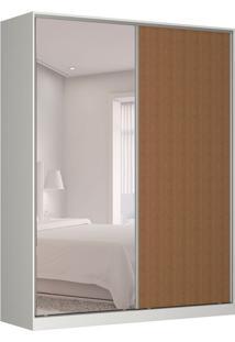 Guarda-Roupa Solteiro Com Espelho Tunas V 2 Pt 3 Gv Branco E Marrom