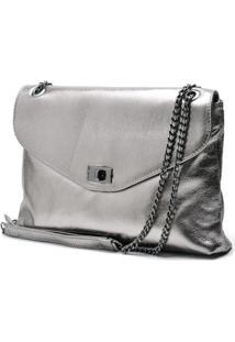 Bolsa Hendy Bag Couro Metalizado - Feminino-Cinza