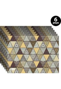 Jogo Americano Mdecore Abstrato 40X28 Cm Amarelo 6Pçs