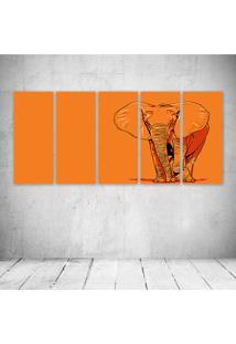 Quadro Decorativo - Orange Elephant - Composto De 5 Quadros - Multicolorido - Dafiti