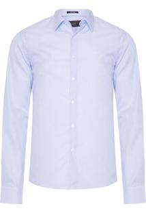 Camisa Masculina Double Thin Striped Slim French - Azul