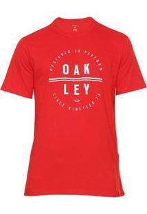 Camiseta Oakley Dpt Circle Tee Masculina - Masculino-Vermelho