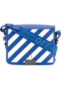 Off-White Bolsa Transversal Com Listras Diagonais - Azul