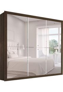Guarda-Roupa Casal Com Espelho Galaxy 3Pt Gold Malbec
