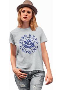 Camiseta Básica Feminina Joss Keep Growing Cinza - Kanui