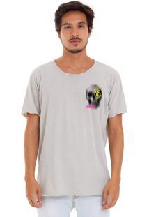 Camiseta Estonada Corte À Fio Estampada Joss Tis 10 Cinza