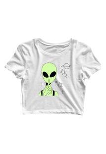 Blusa Blusinha Feminina Cropped Tshirt Camiseta Silence Alien Branco