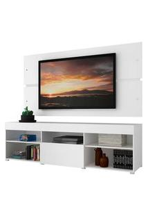 Rack Com Painel Para Tv Até 65 Polegadas Madesa Havaí 1 Porta - Branco Branco