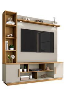 Estante Home Theater Para Tv Até 60 Pol. Prestige Off White/Cinamomo -