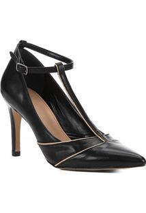 Scarpin Couro Shoestock Athleisure Salto Alto - Feminino-Preto