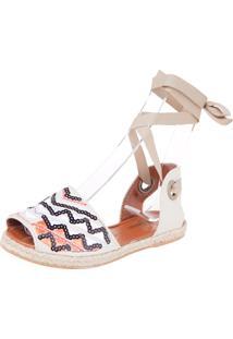Rasteira Avarca Dafiti Shoes Bordada Paetê Off-White