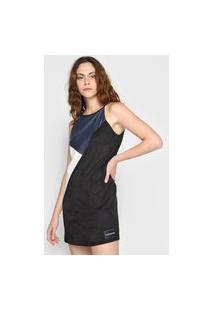 Vestido Calvin Klein Jeans Curto Color Block Preto/Azul-Marinho