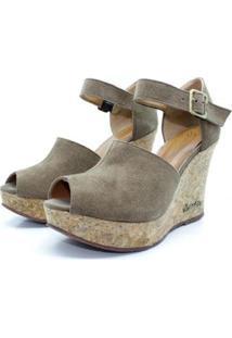 Sandalia Barth Shoes Cristal Camurça Feminina - Feminino-Marrom