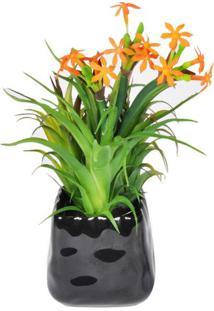 Vaso Com Flor Artificial- Verde & Laranja- 32X20X20Cbtc Decor