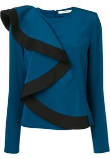 Givenchy Blusa De Seda Assimétrica Com Babados - Azul