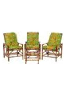 Conjunto Mesa E 3 Cadeiras De Bambu Cancun Para Área Edicula Jardim G16