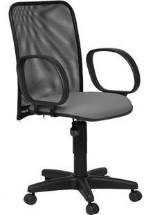 Cadeira Diretor Tela Giratória Corsa Tecido Cinza