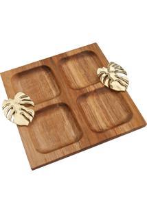 Petisqueira 4 Divisões Bon Gourmet Madeira Costela De Adão Quadrada