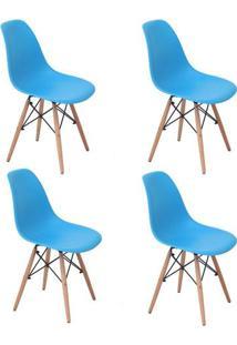 Conjunto 4 Cadeiras Eiffel Eames Dsw Base Madeira Azul