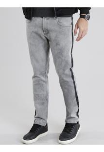 Calça Jeans Masculina Skinny Com Faixas Laterais Cinza