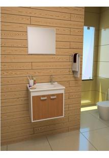 Gabinete Armarinho Para Banheiro Gabinetto Conjunto Udine 4503 Cor Branco Com Carvalho