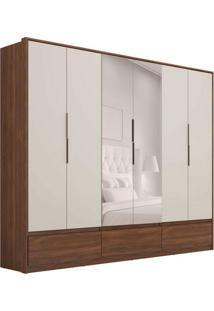 Guarda-Roupa Casal Com Espelho Moara I 6 Pt 7 Gv Âmbar E Off White