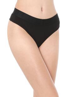 Calcinha Calvin Klein Underwear Tanga Lettering Preta