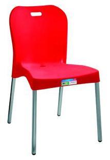 Cadeira Com Pé De Alumínio Sem Braço Vermelha Paramount Plásticos