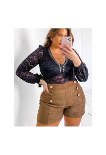 Body Plus Size De Renda Bordado