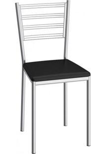 Cadeira De Aço Dallas C152 Compoarte Cromado/Preto
