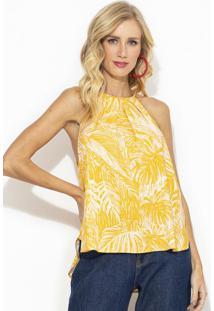 Blusa De Alças Viscose Estampada Amarela
