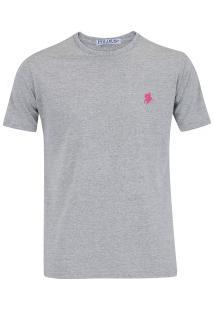 Camiseta Polo Us Gola Careca 606Tsgcb - Masculina - Cinza/Rosa