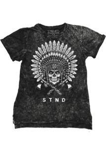 Camiseta Longline Stoned Estonada Indian Skull Masculina - Masculino-Preto