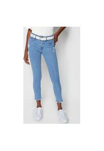 Calça Cropped Jeans Lança Perfume Skinny Diana Azul