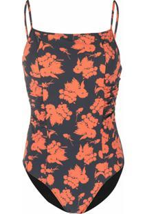 Ganni Floral-Print Swimsuit - Laranja