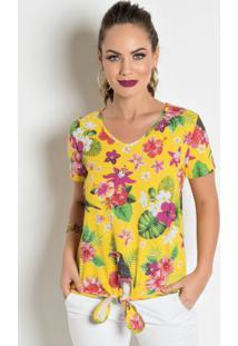 99fb5c6b4b ... Blusa Com Amarração Na Barra Floral