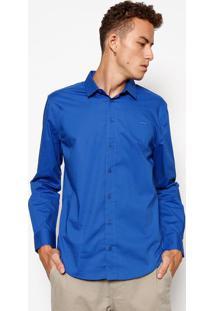 Camisa Slim Lisa Com Bordado- Azul- Colccicolcci