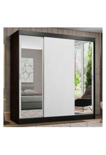 Guarda-Roupa Casal Madesa Reno 3 Portas De Correr Com Espelhos Preto/Branco Cor:Preto/Branco