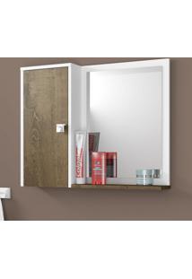 Armário Para Banheiro 1 Porta Gênova Branco/Madeira Rústica - Bechara Móveis
