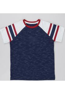 Camiseta Infantil Raglan Manga Curta Azul Marinho