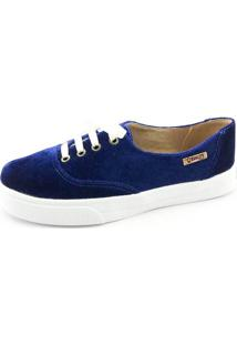 Tênis Quality Shoes Feminino 005 Veludo Azul Marinho 33