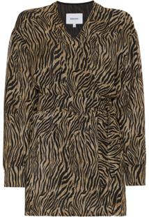 Nanushka Tiger Print Chiffon Playsuit - Marrom