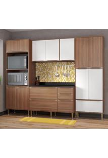 Cozinha Completa 5 Módulos 13 Portas Calábria Multimóveis Nogueira/Branco Texturizado