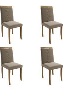 Conjunto Com 4 Cadeiras De Jantar Laura Suede Madeira E Joli