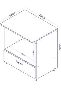 Balcão Completa Móveis Bl 130 Para Forno/Microondas 1 Gaveta Branco