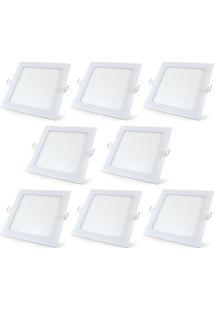Luminária Led Plafon De Embutir Quadrado 25W Branco Frio Kit 4