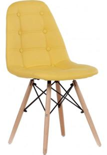 Cadeira Estofada Base Madeira Madri Siena Móveis Amarelo