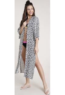 Kimono Feminino Triya Longo Estampado Animal Print Onça Com Fendas Branco