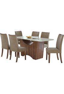 Sala De Jantar Rock 170Cm Com 6 Cadeiras Sued Animale Bege