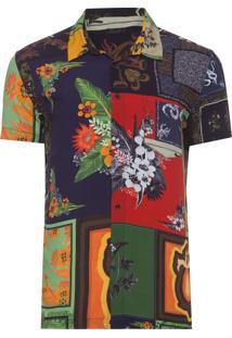 Camisa Masculina Manga Curta Scarf - Preto